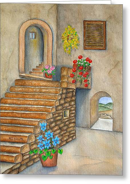 Stepping Stones Mixed Media Greeting Cards - Siena Greeting Card by Pamela Allegretto