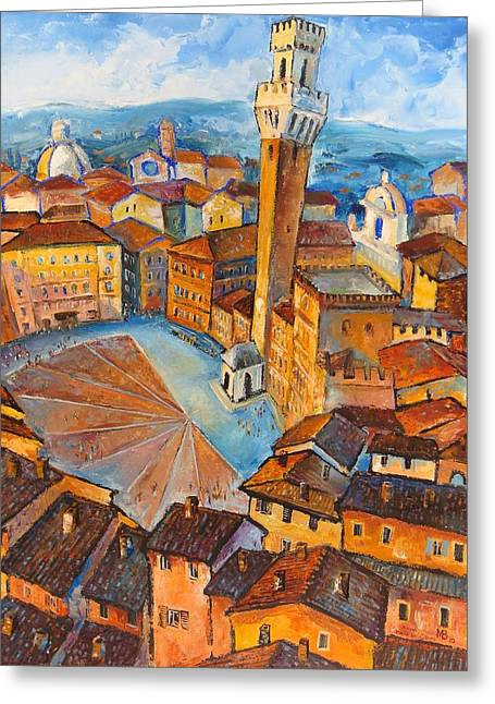 Sienna Italy Greeting Cards - Siena-Piazza dil Campo Greeting Card by Mikhail Zarovny
