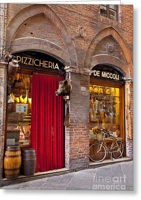 Italian Market Greeting Cards - Siena Storefront Greeting Card by Brian Jannsen