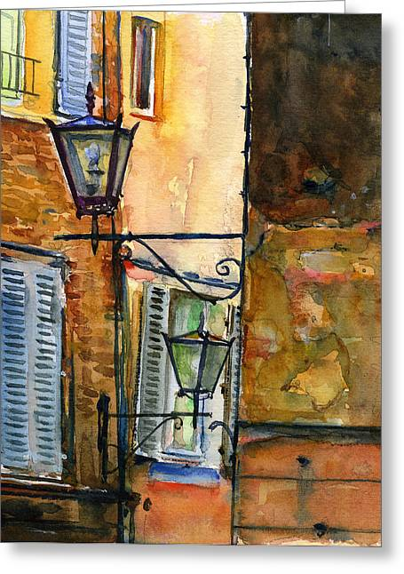 Siena Italy Greeting Cards - Siena Street Lamps Greeting Card by John D Benson