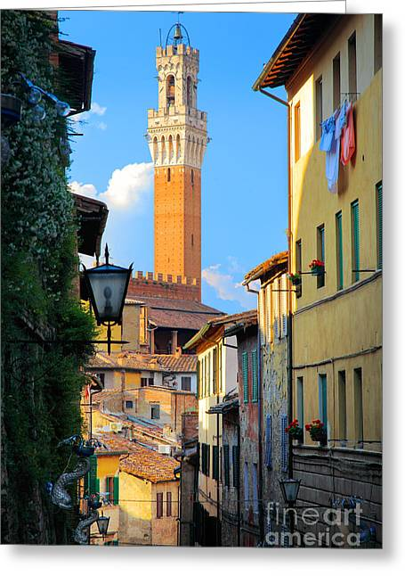 Siena Streets Greeting Card by Inge Johnsson