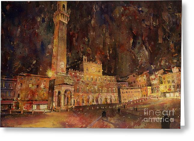 Locations Paintings Greeting Cards - Siena Sunset Greeting Card by Ryan Fox