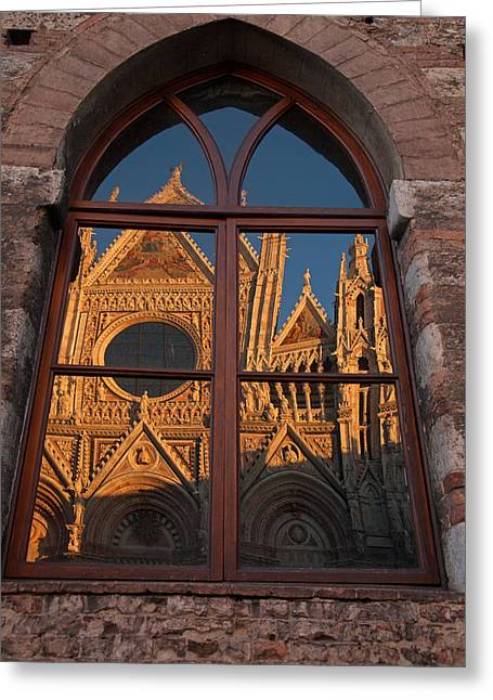 Sienna Italy Greeting Cards - Sienna Cathedral Reflection Greeting Card by Susan Rovira