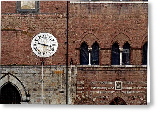 Sienna Italy Greeting Cards - Sienna Clock Greeting Card by Rene Sheret