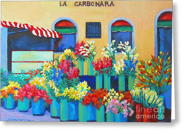 Sienna Italy Greeting Cards - Sienna Flower Market Greeting Card by Sharon Nelson-Bianco