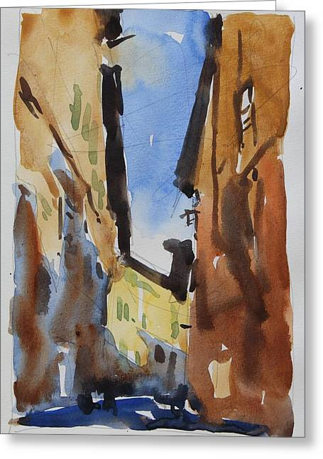 Sienna Italy Greeting Cards - Sienna Street Greeting Card by Owen Hunt