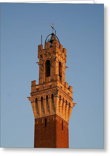 Sienna Italy Greeting Cards - Sienna Tower Greeting Card by Barbara Stellwagen