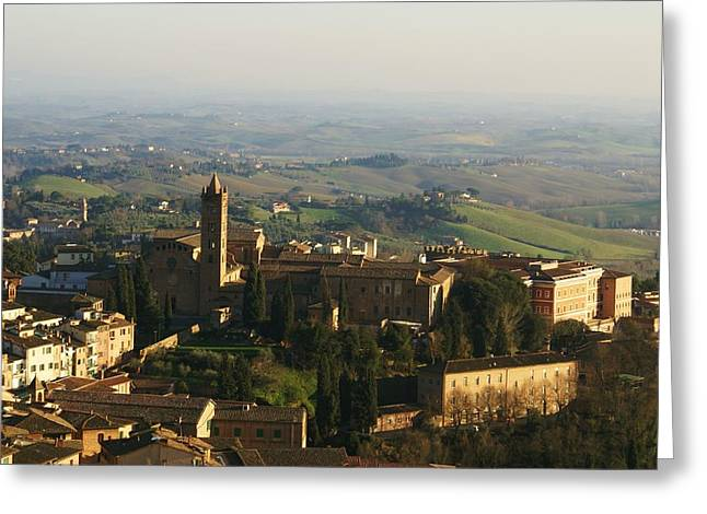 Sienna Italy Greeting Cards - Sienna Tower View Greeting Card by Barbara Stellwagen