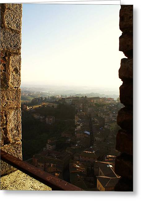 Sienna Italy Greeting Cards - Sienna Tower Window 2 Greeting Card by Barbara Stellwagen