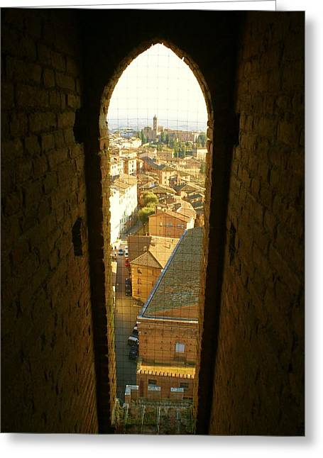 Sienna Italy Greeting Cards - Sienna Tower Window Greeting Card by Barbara Stellwagen