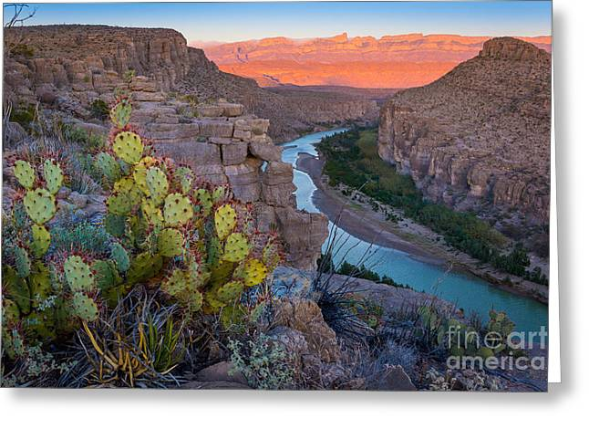 Del Rio Texas Greeting Cards - Sierra del Carmen and the Rio Grande Greeting Card by Inge Johnsson
