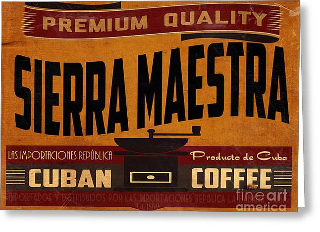Havana Greeting Cards - Sierra Maestra Crate Label Greeting Card by Cinema Photography