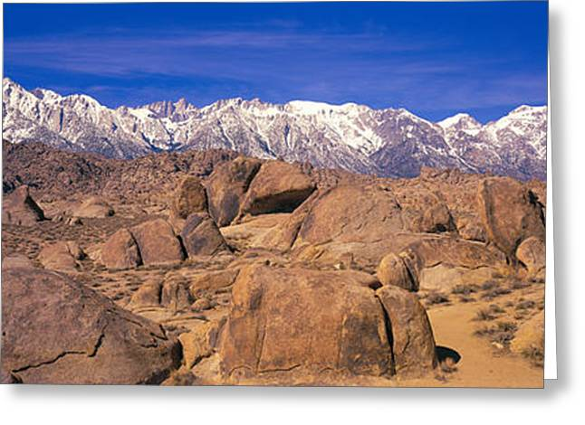 Snow Capped Greeting Cards - Sierra Mountains, Owens Valley Greeting Card by Panoramic Images