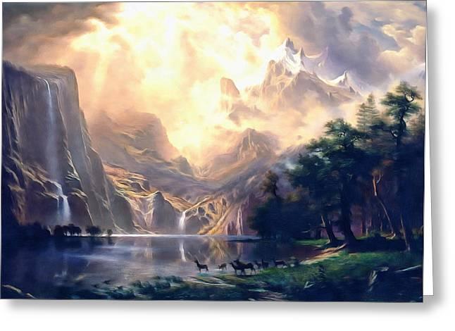Bierstadt Mixed Media Greeting Cards - Sierra Nevada Ode To Bierstadt Dedication Greeting Card by Georgiana Romanovna