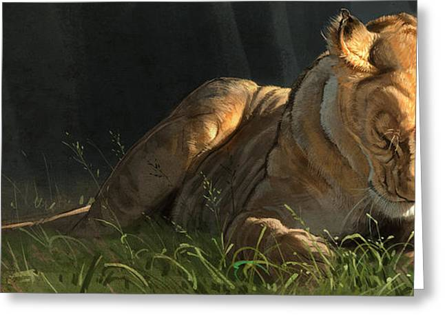 Lioness Greeting Cards - Siesta 2 Greeting Card by Aaron Blaise