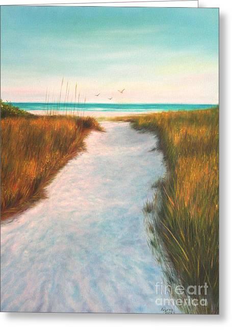 Sand Dunes Paintings Greeting Cards - Siesta Key Beach Path Greeting Card by Gabriela Valencia