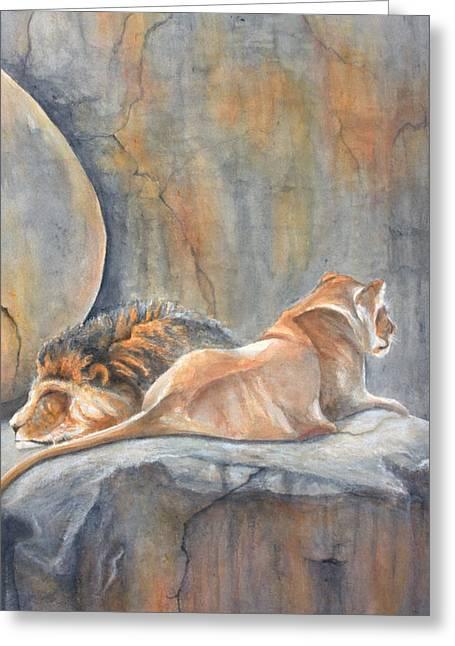 Animals Paintings Greeting Cards - Siesta Greeting Card by Kimberly Shinn