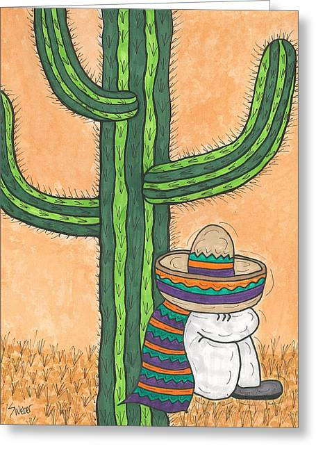 Susie Weber Greeting Cards - Siesta Saguaro Cactus Time Greeting Card by Susie Weber