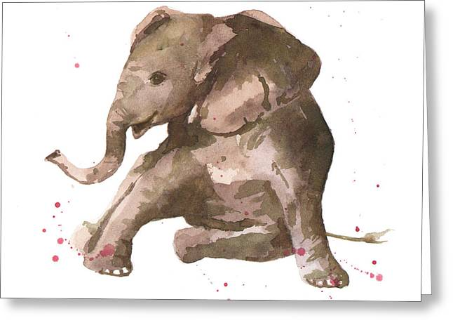 Watercolour Paintings Greeting Cards - Siesta Sophie Elephant Greeting Card by Alison Fennell