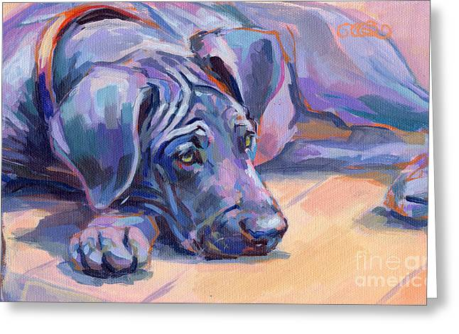 Puppies Paintings Greeting Cards - Sigh Greeting Card by Kimberly Santini