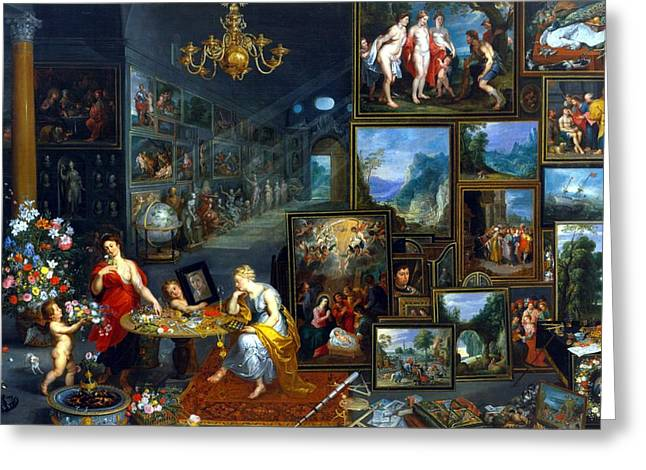 Vue Greeting Cards - Sight And Smell Oil On Canvas Greeting Card by Jan the Elder Brueghel