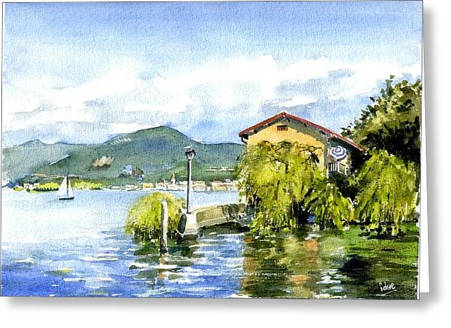 Aquarel Greeting Cards - Sight on the Iseo lake Greeting Card by Ivo Depauw