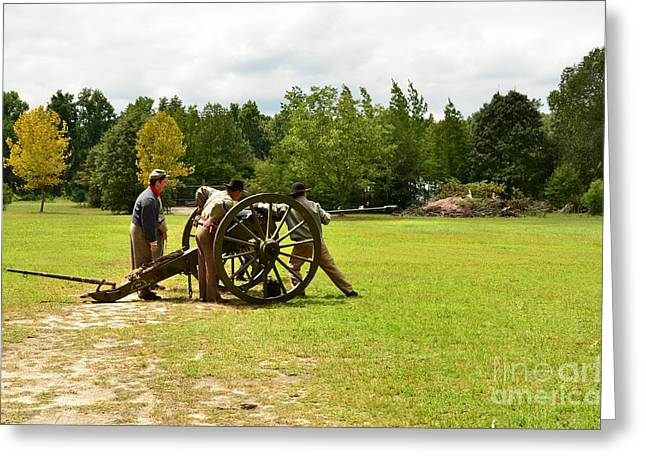 Sighting In Of A Civil War Canon Greeting Card by Bob Sample