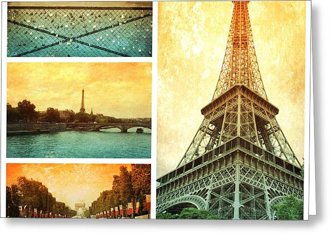 Carol Groenen Golden Greeting Cards - Sights of Paris Collage Greeting Card by Carol Groenen