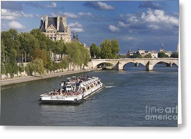 Boat Cruise Greeting Cards - Sightseeing cruise boat on River Seine. Paris Greeting Card by Bernard Jaubert