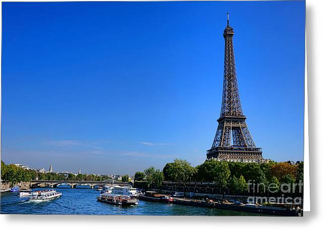 Traffic Jam Greeting Cards - Sightseeing on the Seine Greeting Card by Olivier Le Queinec