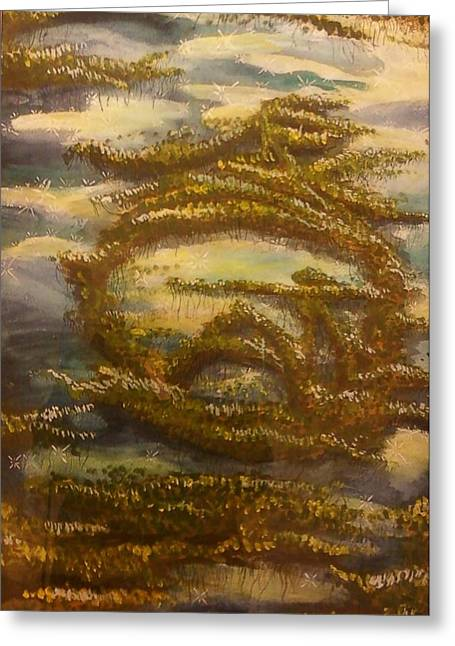 Alga Paintings Greeting Cards - Sigil for Serenity Greeting Card by Alexandria Weaselwise Busen