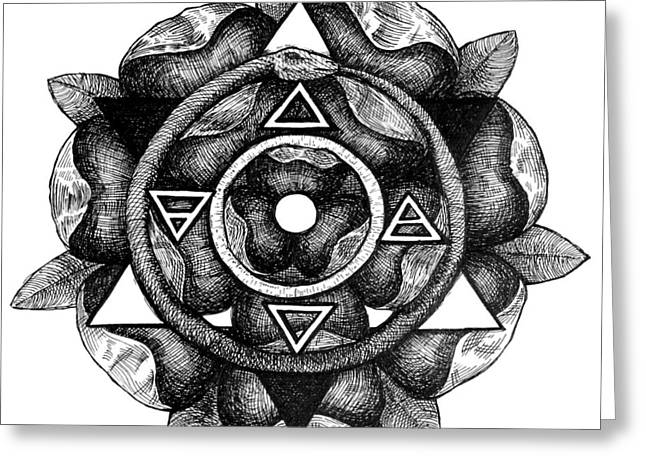 Gnostic Drawings Greeting Cards - Sigil of the Societas Subrosa Greeting Card by Gregory Stewart