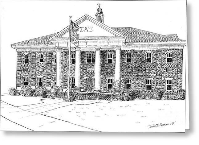 Universities Drawings Greeting Cards - Sigma Alpha Epsilon House Greeting Card by John Hopson