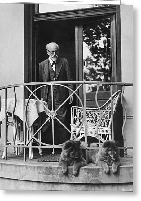 Sigmund Freud With His Chows Greeting Card by Underwood Archives