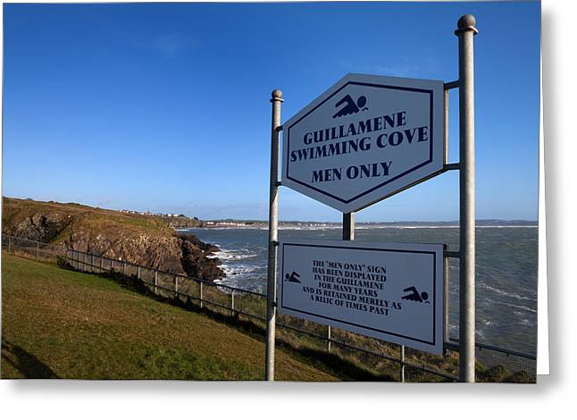 Sign Writing Greeting Cards - Sign At Guillamene Swimming Cove Greeting Card by Panoramic Images