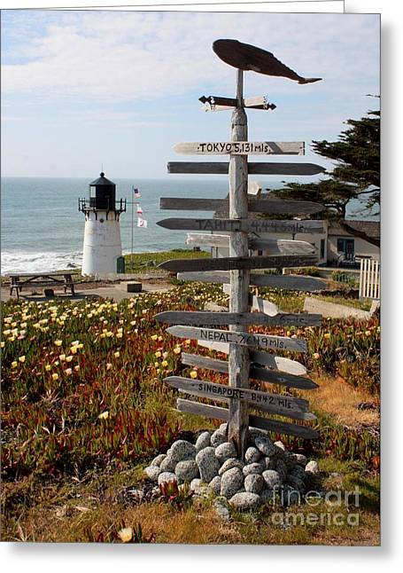 California Lighthouse Greeting Cards - Sign at Point Montara Greeting Card by Carol Groenen