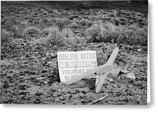 No Limits Greeting Cards - sign at the base of the grand canyon marking edge of the hualapai nation territory Arizona USA Greeting Card by Joe Fox
