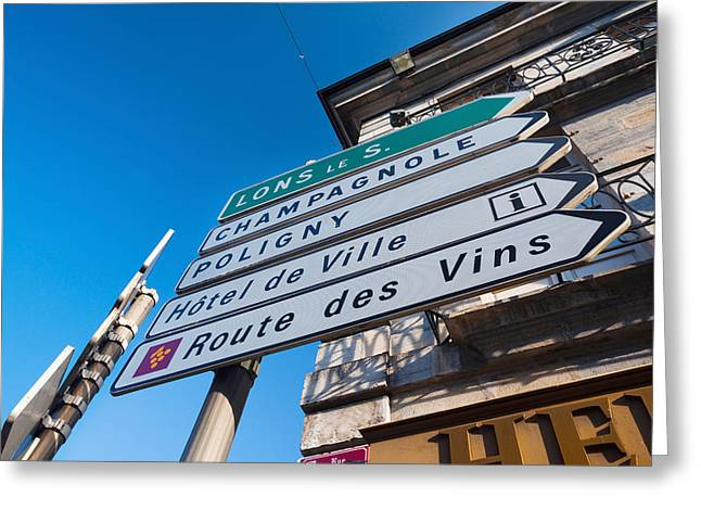 Route Des Vins Greeting Cards - Sign For The Route Des Vins, Arbois Greeting Card by Panoramic Images