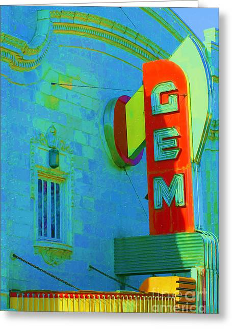 Liane Wright Greeting Cards - Sign - Gem Theater - Jazz District  Greeting Card by Liane Wright