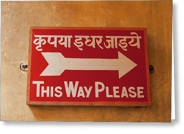 Sign In Hindi And English, City Palace Greeting Card by Inger Hogstrom