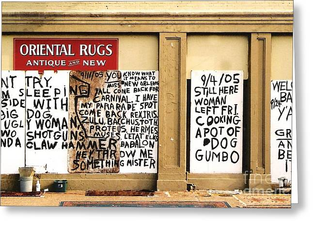 Sign Of Distress Post Hurricane Katrina Message Greeting Card by Michael Hoard