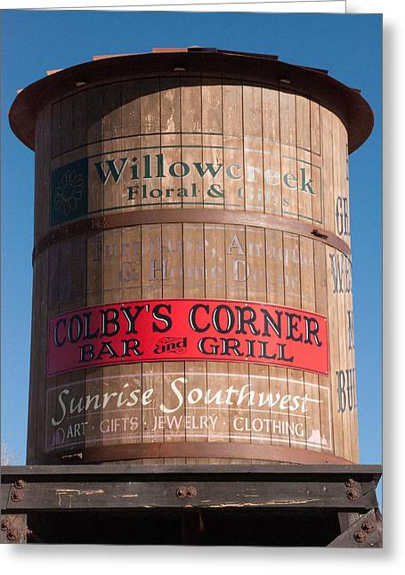 Geobob Greeting Cards - Sign on Watertank of Colby Corner Bar and Grill Willowcreek Shops Ridgway Colorado Greeting Card by Robert Ford