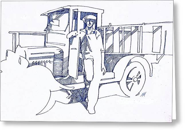Vintage Painter Drawings Greeting Cards - Sign Painter Greeting Card by Dale Michels