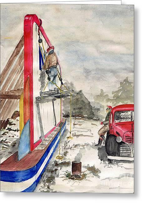 Vintage Painter Greeting Cards - Sign Painters 1949 by George Wood Greeting Card by Karen Adams