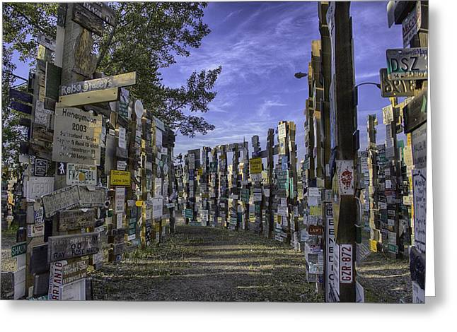 Watson Lake Greeting Cards - Sign Post Forest Greeting Card by Jayme Spoolstra