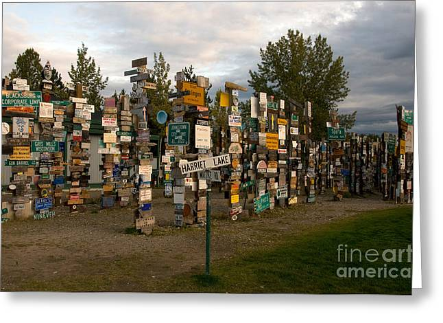 Watson Lake Greeting Cards - Sign Post Forest Greeting Card by Mark Newman