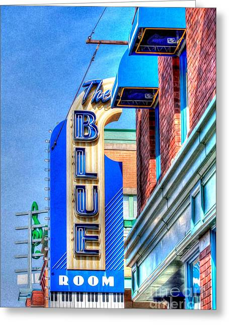 Liane Wright Greeting Cards - Sign - The Blue Room - Jazz District Greeting Card by Liane Wright