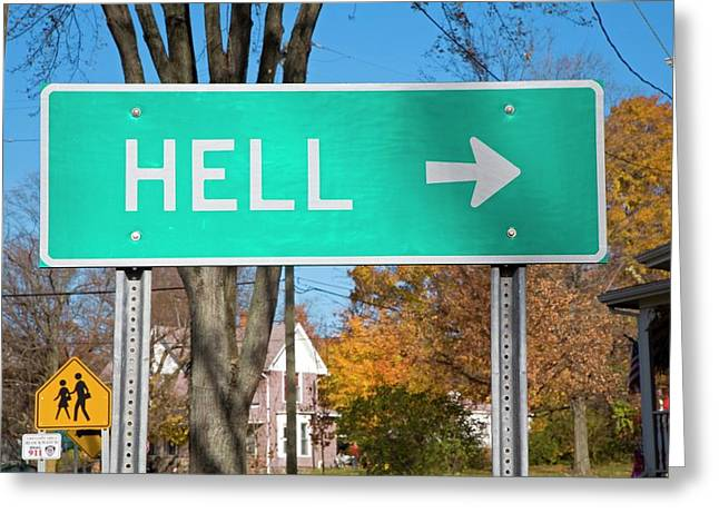 Sign To Hell Greeting Card by Jim West