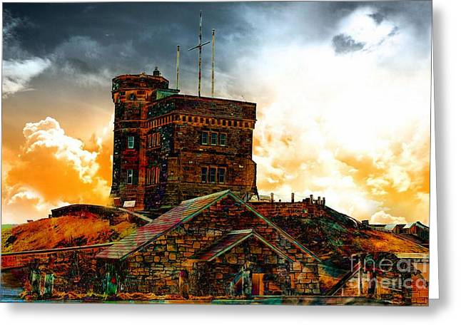 Best Sellers -  - Outlook Greeting Cards - Signal Hill - Cabot Tower - Enhanced Sky Greeting Card by Barbara Griffin