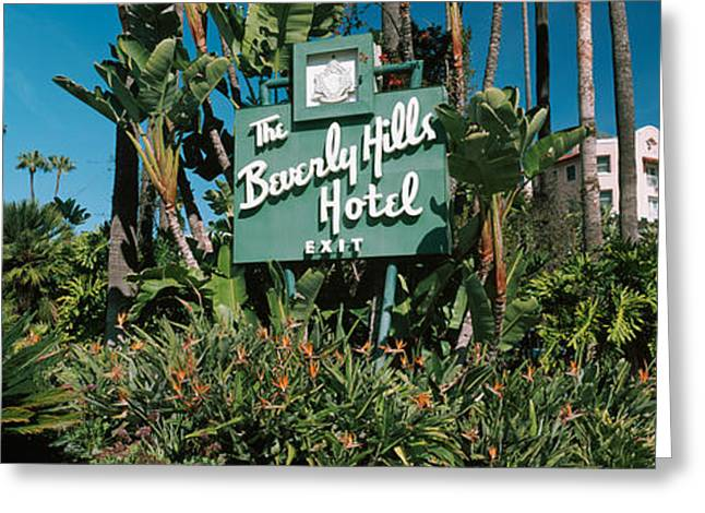Signboard Of A Hotel, Beverly Hills Greeting Card by Panoramic Images